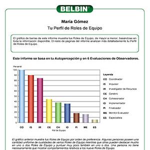El gráfico de barras de este informe muestra tus Roles de Equipo, de mayor a menor, basándose en toda la información disponible. El resto de páginas del informe analizan más detalladamente tu Perfil de Roles de Equipo