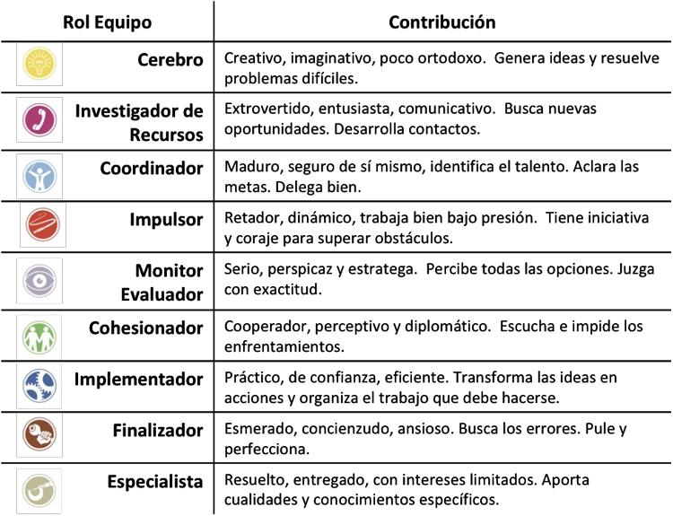 contribucion de cada rol de equipo belbin