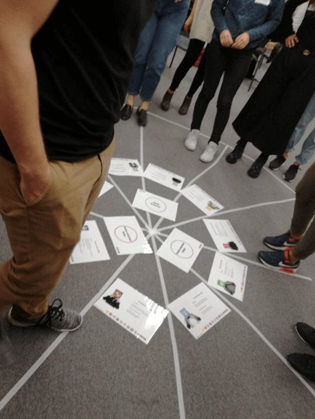 Círculo Roles de Equipo Belbin con estudiantes